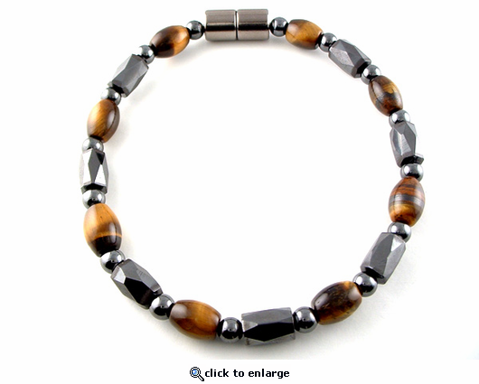 Hematite Magnetic Therapy Bracelet Rice Tiger Eye Europa