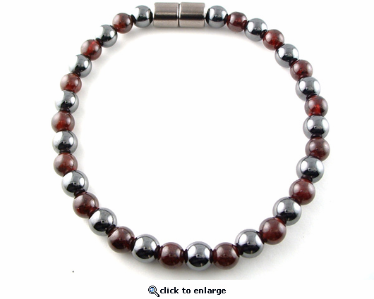 Hematite Magnetic Therapy Necklace Round & Garnet Duet