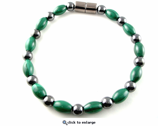Hematite Magnetic Therapy Anklet Round & Malachite Rice