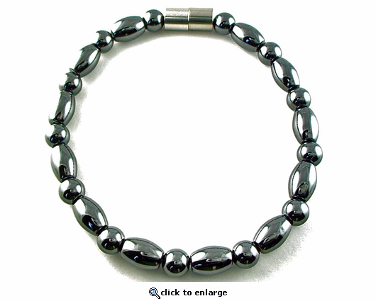 Hematite Magnetic Therapy Anklet Round & Rice
