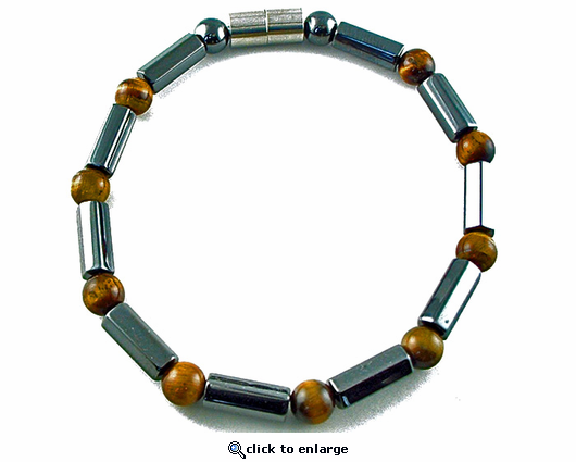 Hematite Magnetic Therapy Necklace Tiger Eye Polygons