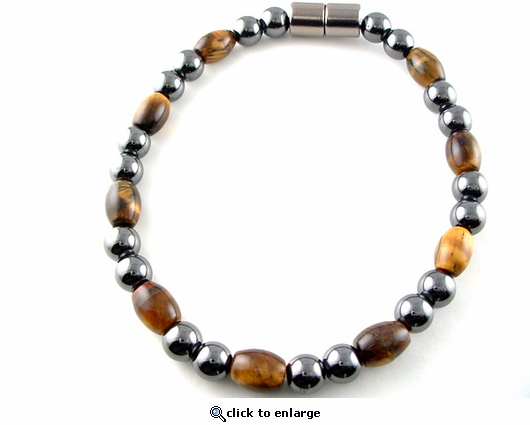 Hematite Magnetic Therapy Necklace Tiger Eye Rice Unity