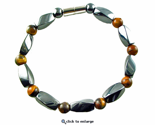Hematite Magnetic Therapy Necklace Tiger Eye Twister