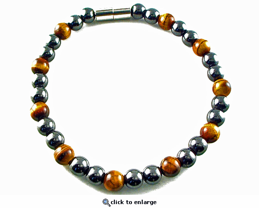 Hematite Magnetic Therapy Bracelet Tiger Eye Unity