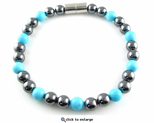 Hematite Magnetic Therapy Anklet Turquoise Unity