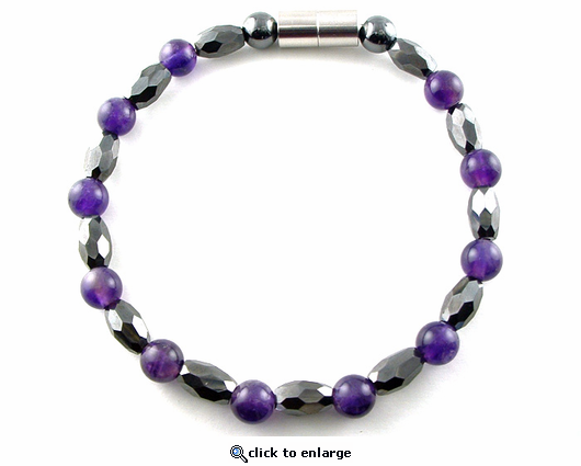 Hematite Magnetic Therapy Necklace Amethyst Marquise