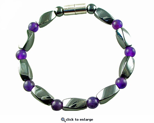 Hematite Magnetic Therapy Necklace Amethyst Twister