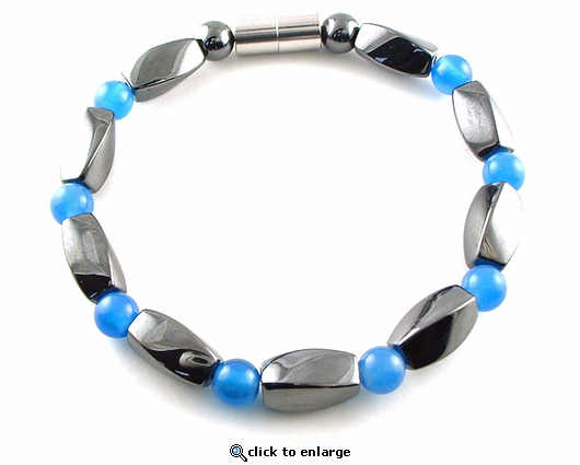 Hematite Magnetic Therapy Anklet Blue Twister
