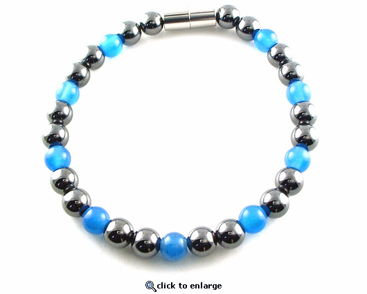 Hematite Magnetic Therapy Necklace Blue Unity