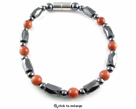 Hematite Magnetic Therapy Necklace Goldstone Europa