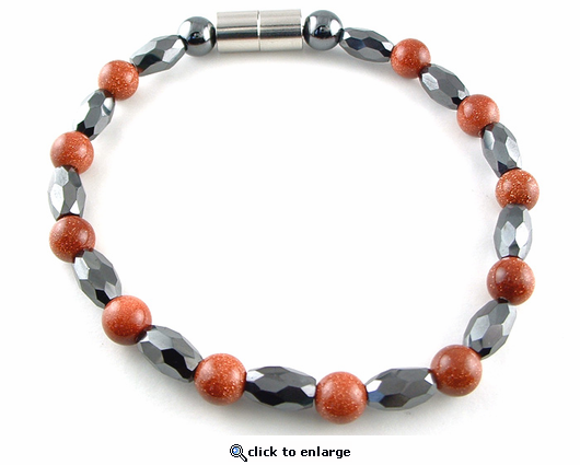 Hematite Magnetic Therapy Necklace Goldstone Marquise