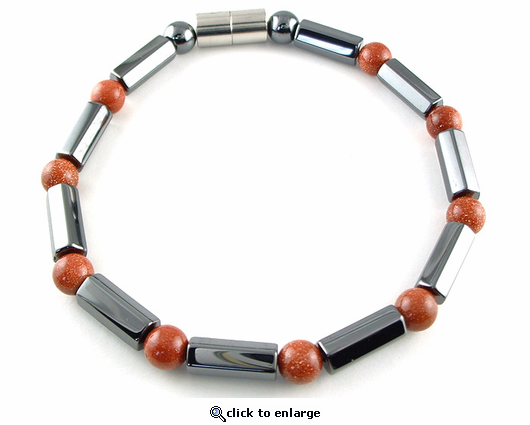 Hematite Magnetic Therapy Necklace Goldstone Polygons