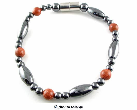 Hematite Magnetic Therapy Anklet Goldstone Saturn