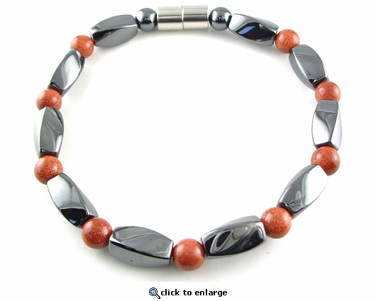 Hematite Magnetic Therapy Necklace Goldstone Twister