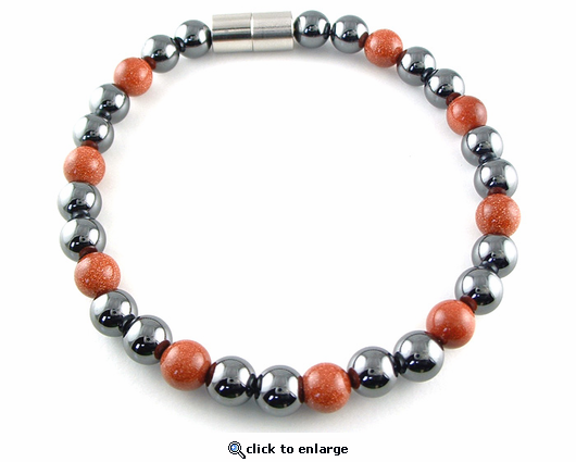 Hematite Magnetic Therapy Anklet Goldstone Unity