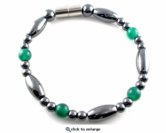 Hematite Magnetic Therapy Bracelet Green Saturn