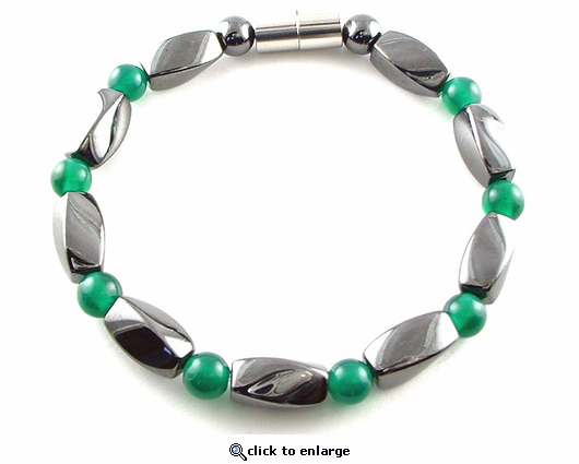 Hematite Magnetic Therapy Necklace Green Twister