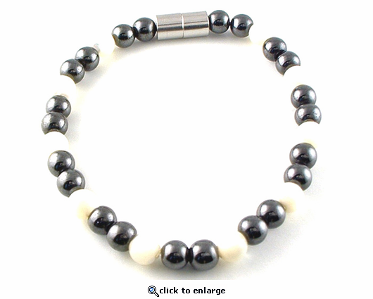 Hematite Magnetic Therapy Necklace Mother of Pearl Unity