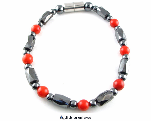 Hematite Magnetic Therapy Necklace Red Coral Europa