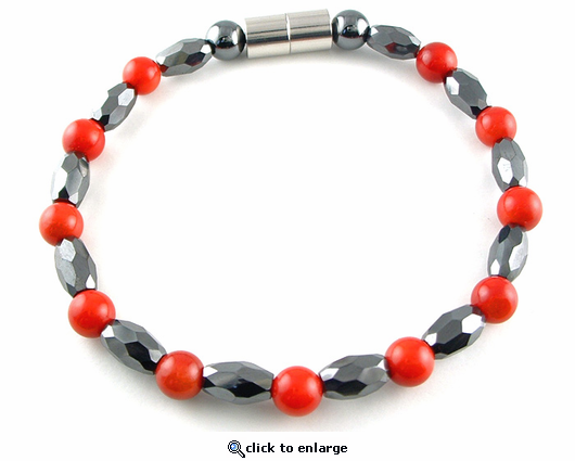Hematite Magnetic Therapy Necklace Red Coral Marquise