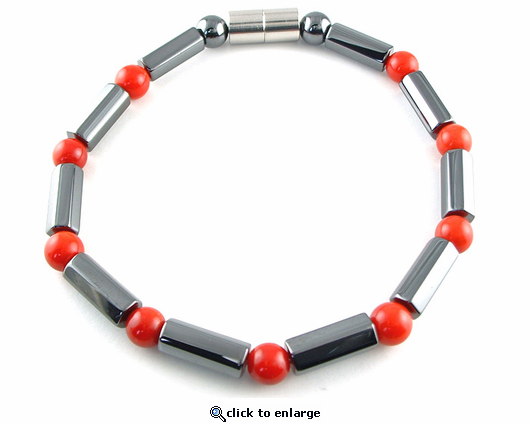 Hematite Magnetic Therapy Anklet Red Coral Polygons