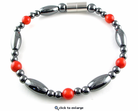 Hematite Magnetic Therapy Necklace Red Coral Saturn