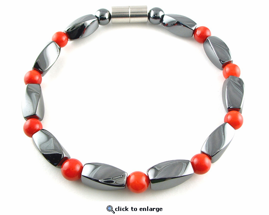 Hematite Magnetic Therapy Anklet Red Coral Twister