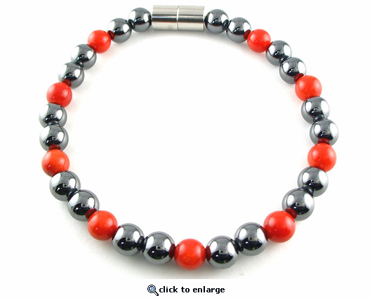 Hematite Magnetic Therapy Anklet Red Coral Unity