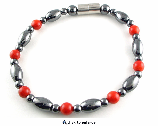 Hematite Magnetic Therapy Anklet Red Coral Venus
