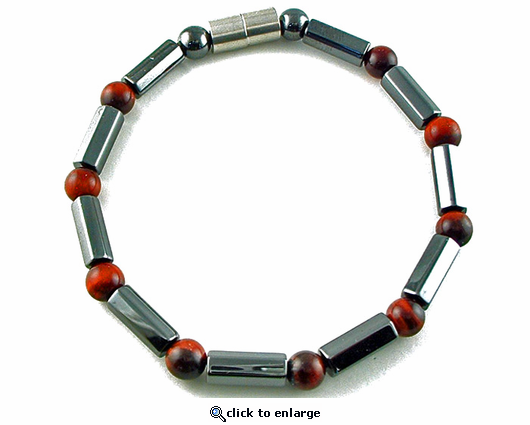 Hematite Magnetic Therapy Bracelet Red Tiger Eye Polygons
