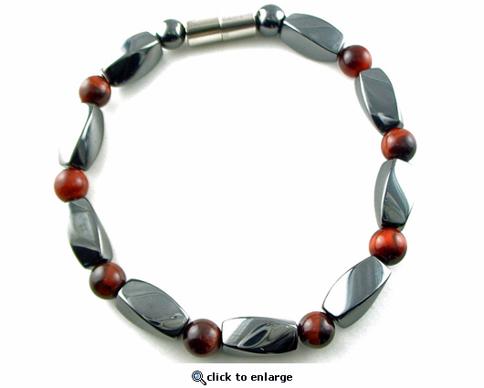 Hematite Magnetic Therapy Bracelet Red Tiger Eye Twister