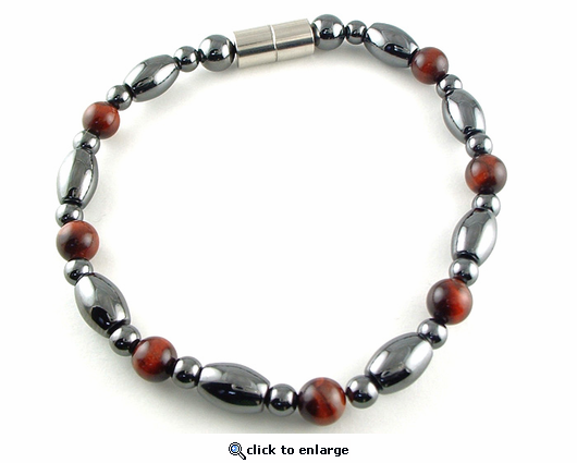 Hematite Magnetic Therapy Necklace Red Tiger Eye Venus