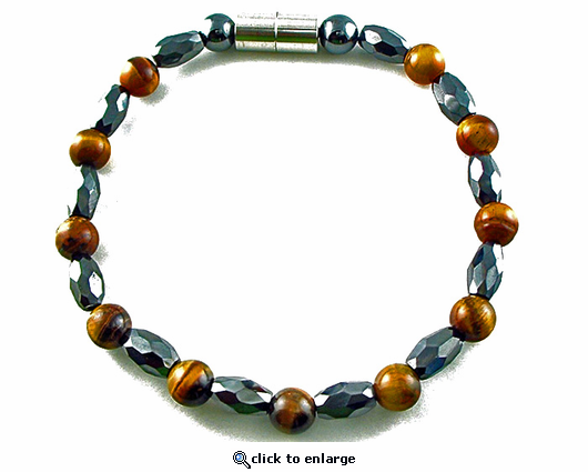 Hematite Magnetic Therapy Bracelet Tiger Eye Marquise
