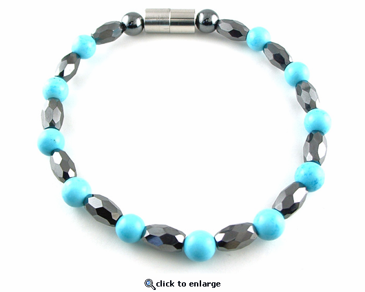 Hematite Magnetic Therapy Anklet Turquoise Marquise