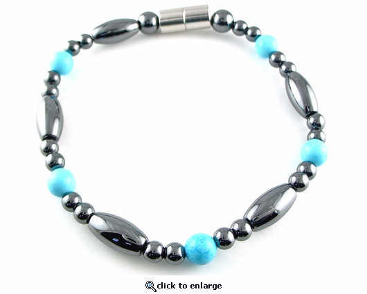 Hematite Magnetic Therapy Necklace Turquoise Saturn