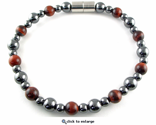 Hematite Magnetic Therapy Bracelet Red Tiger Eye Rounders