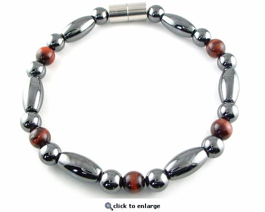 Hematite Magnetic Therapy Necklace Red Tiger Eye Trey Rice