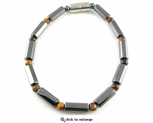 Hematite Magnetic Therapy Necklace Tiger Eye Polygon Duet