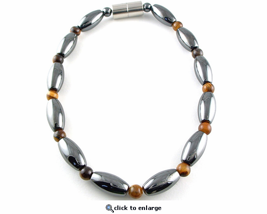 Hematite Magnetic Therapy Necklace Tiger Eye Rice Duet