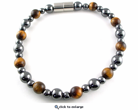 Hematite Magnetic Therapy Necklace Tiger Eye Rounders
