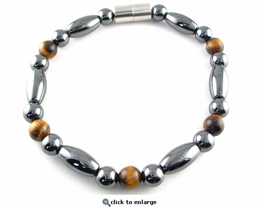 Hematite Magnetic Therapy Bracelet Tiger Eye Trey Rice