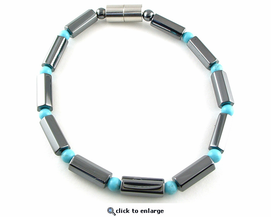 Hematite Magnetic Therapy Necklace Turquoise Polygon Duet