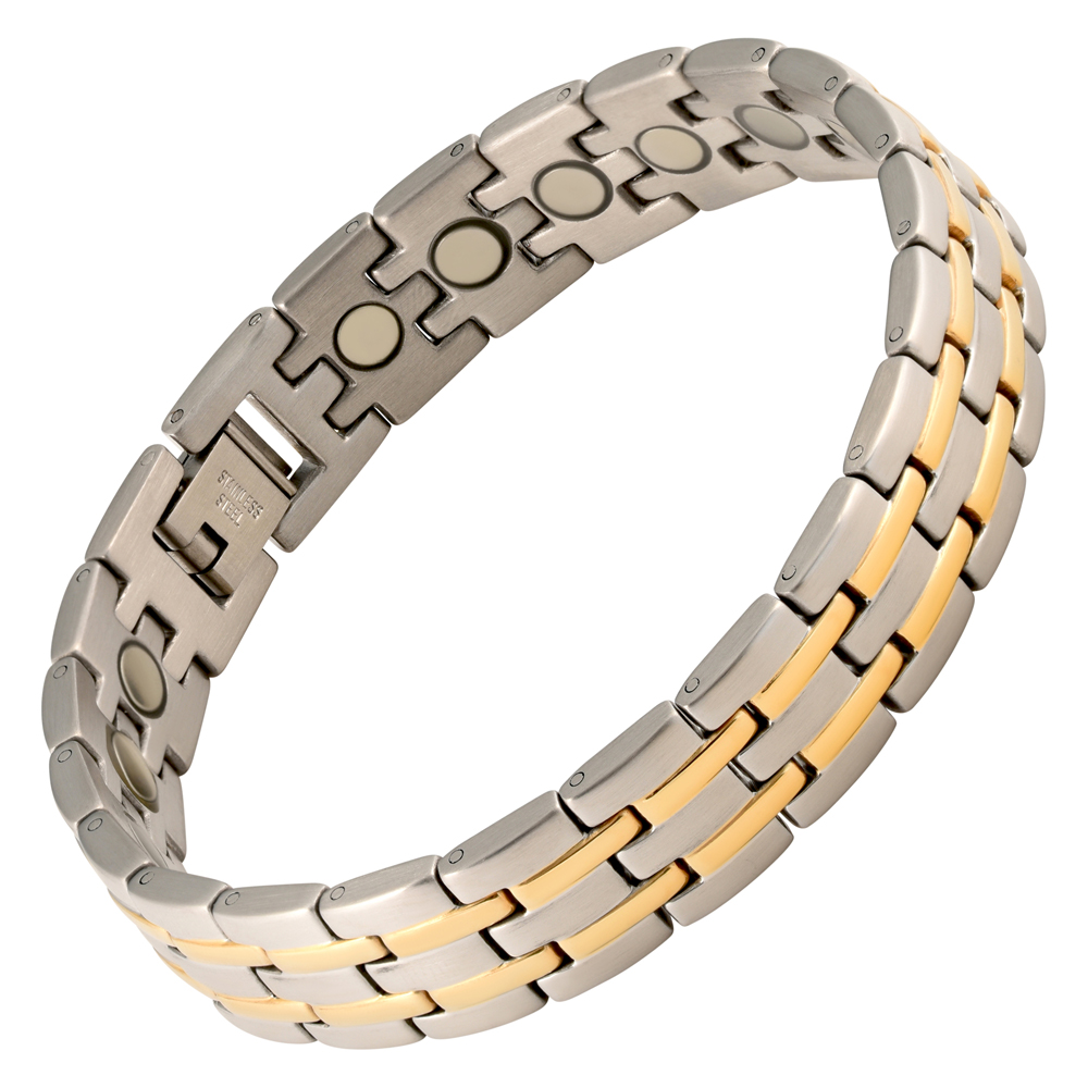 Magnetic Charm Bracelet: Magnetic Therapy Bracelet Stainless Steel 2 Tone Stripes