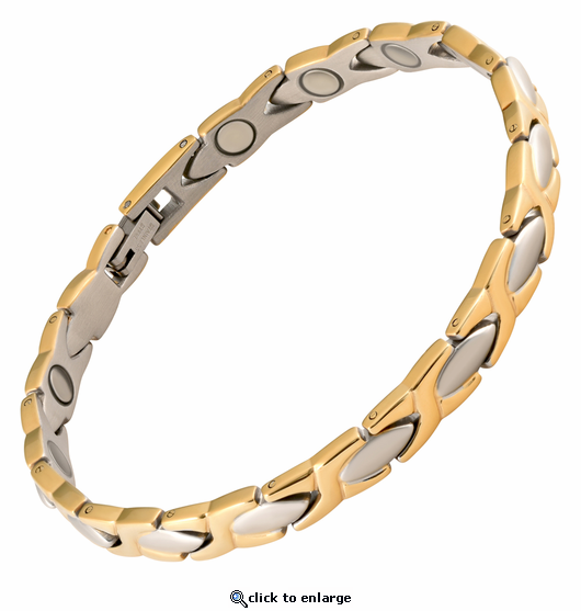 Magnetic Therapy Bracelet Stainless Steel 2 Tone XOXO