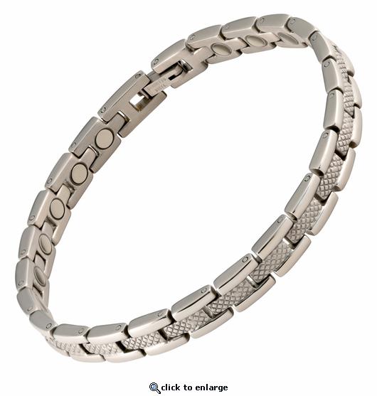 Magnetic Therapy Bracelet Stainless Steel Silver Verona