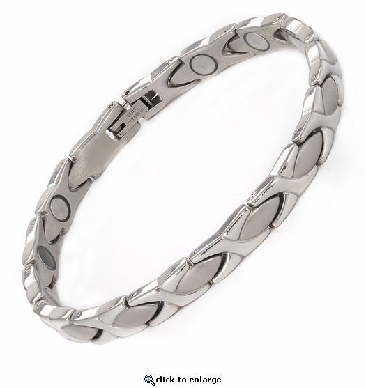 Magnetic Therapy Bracelet Stainless Steel Silver XOXO