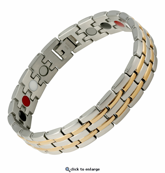 Magnetic Therapy Bracelet 2 Tone Stripes 4 in 1