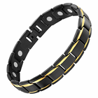 Magnetic Therapy Bracelet Black Titanium Gold Stripes