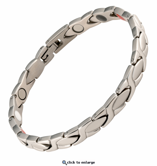 Magnetic Therapy Bracelet Silver XOXO 4 in 1