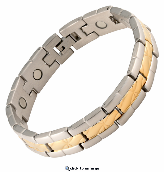 Magnetic Therapy Bracelet Stainless Steel 2 Tone da Vinci